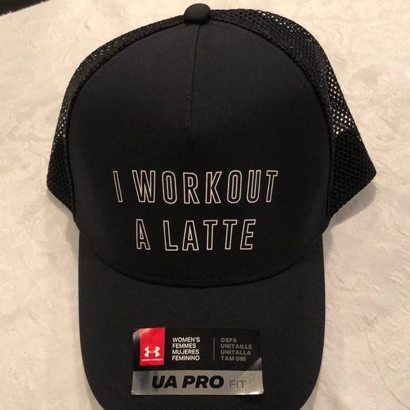 """93c28848163 Under Armour """"I workout a latte """" women s blk cap"""
